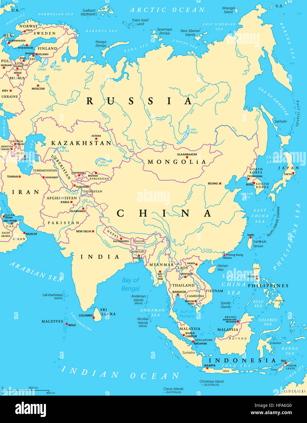Asia Political Map With Capitals National Borders Rivers And - What is the largest continent