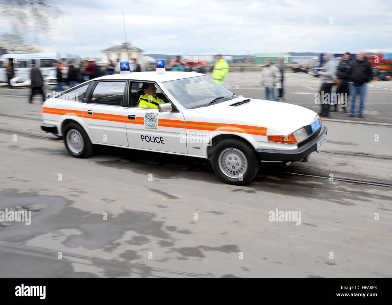 Rover sd1 classic british police car stock image