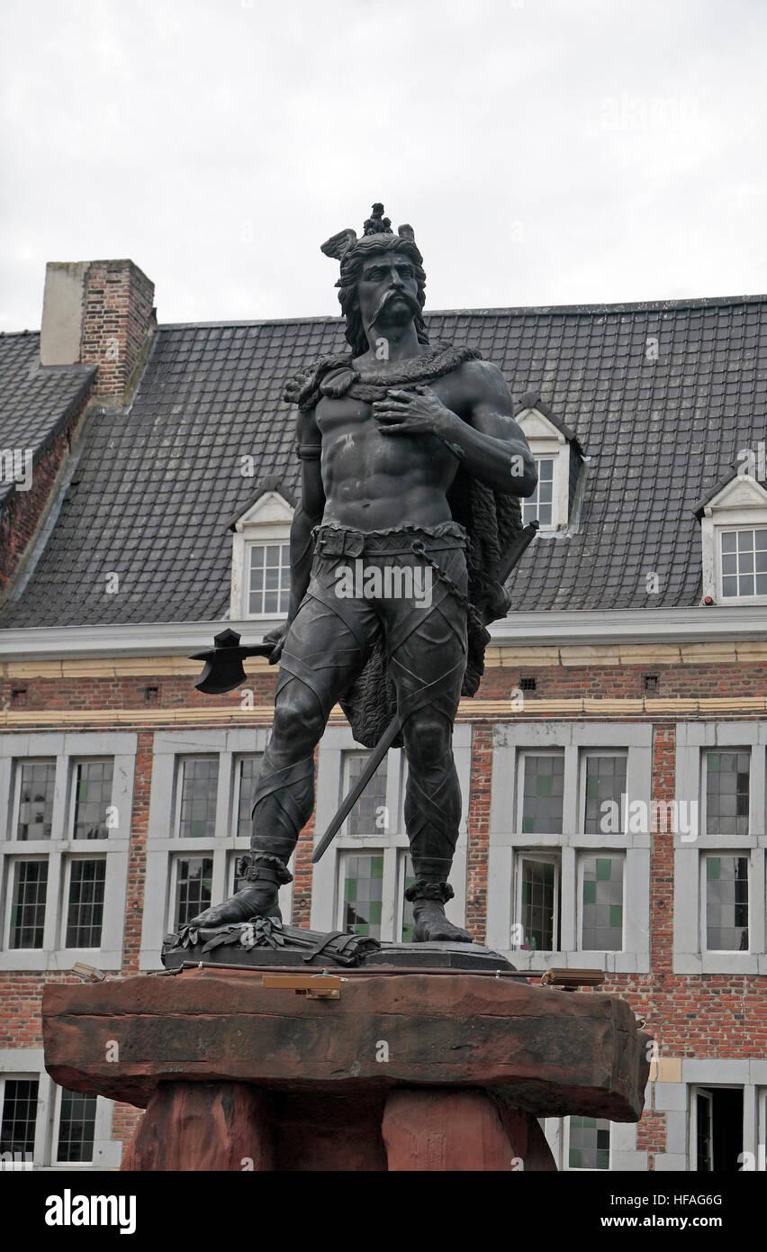 the statue of ambiorix in tongeren great market limburg belgium stock photo royalty free. Black Bedroom Furniture Sets. Home Design Ideas