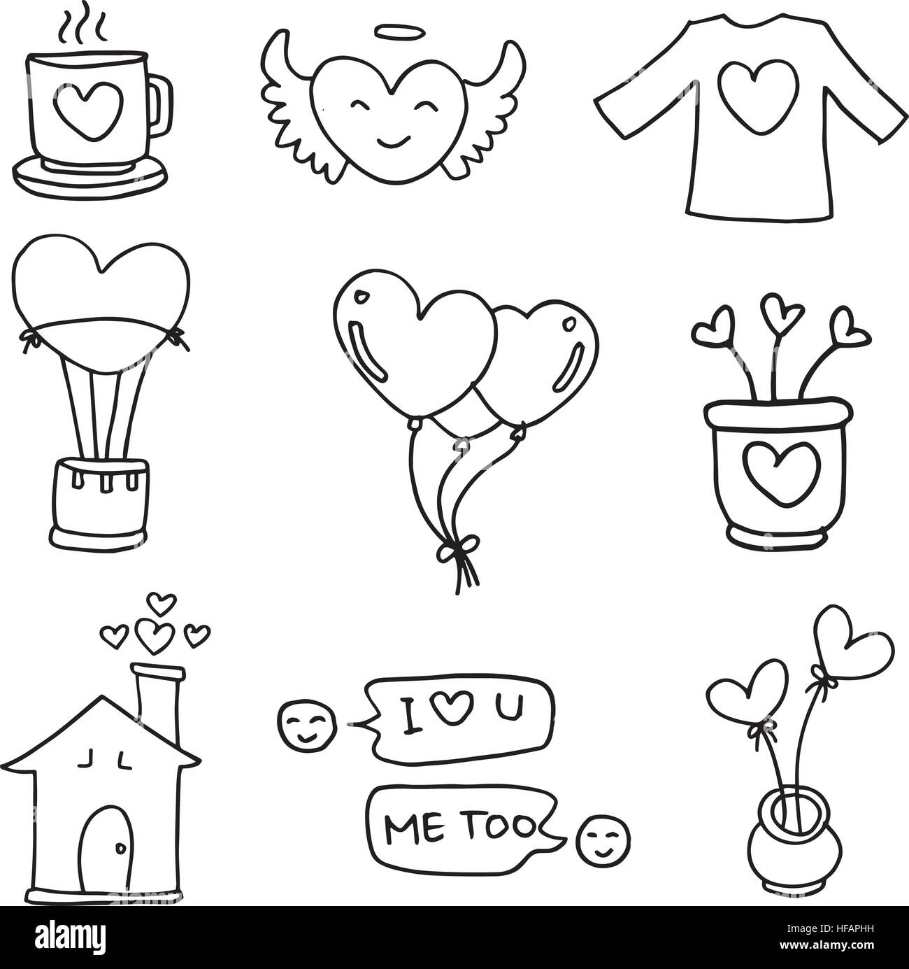 Illustration of hand draw love doodles stock vector art for Love doodles to draw