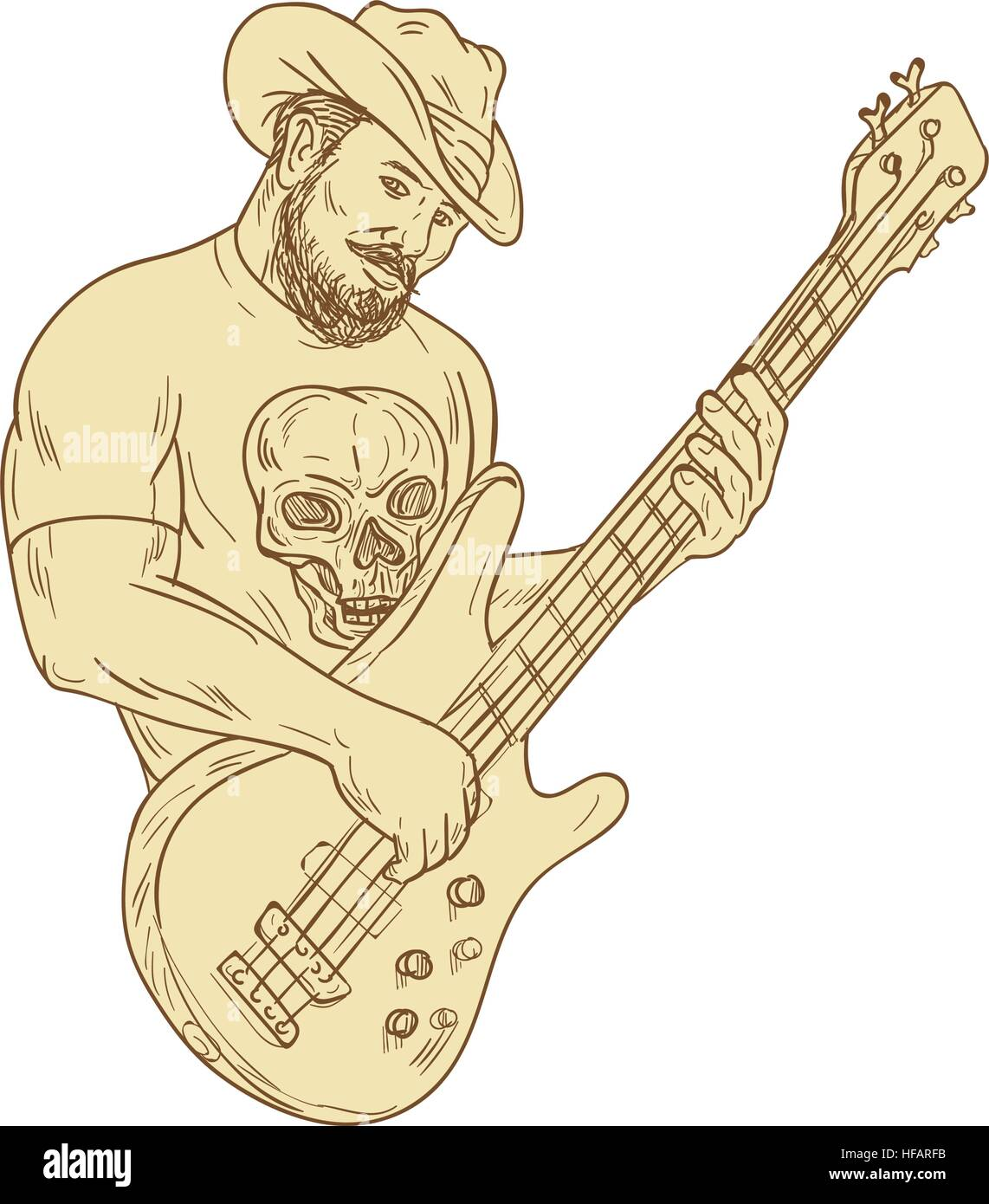 Drawing Sketch Style Illustration Of A Bearded Cowboy Wearing Hat Holding Playing Bass Guitar Viewed From