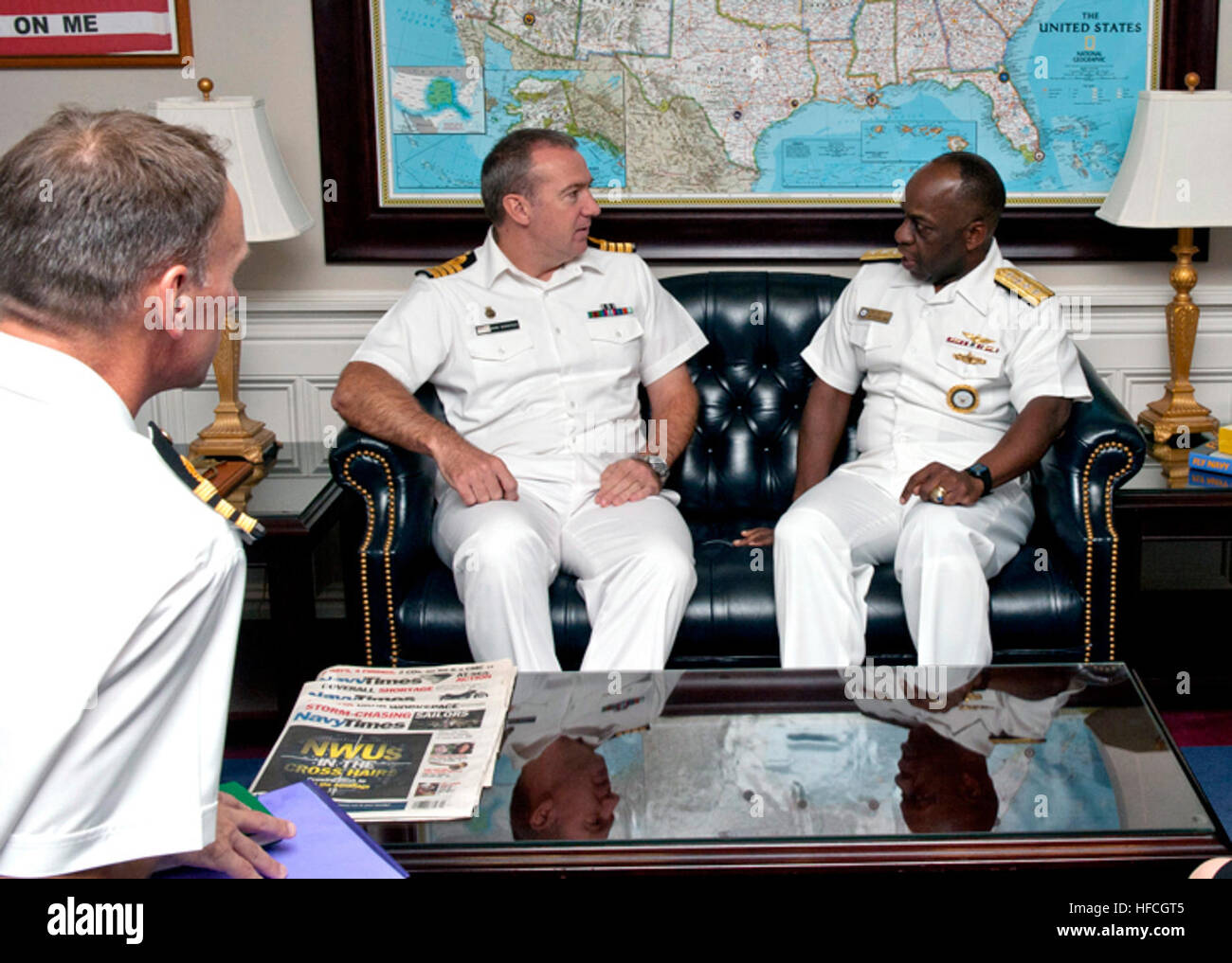 rear adm earl gay commander navy recruiting command meets mark worsfold captain fleet personnel and training to discuss challenges and successes in navy recruiting as cmdr mat