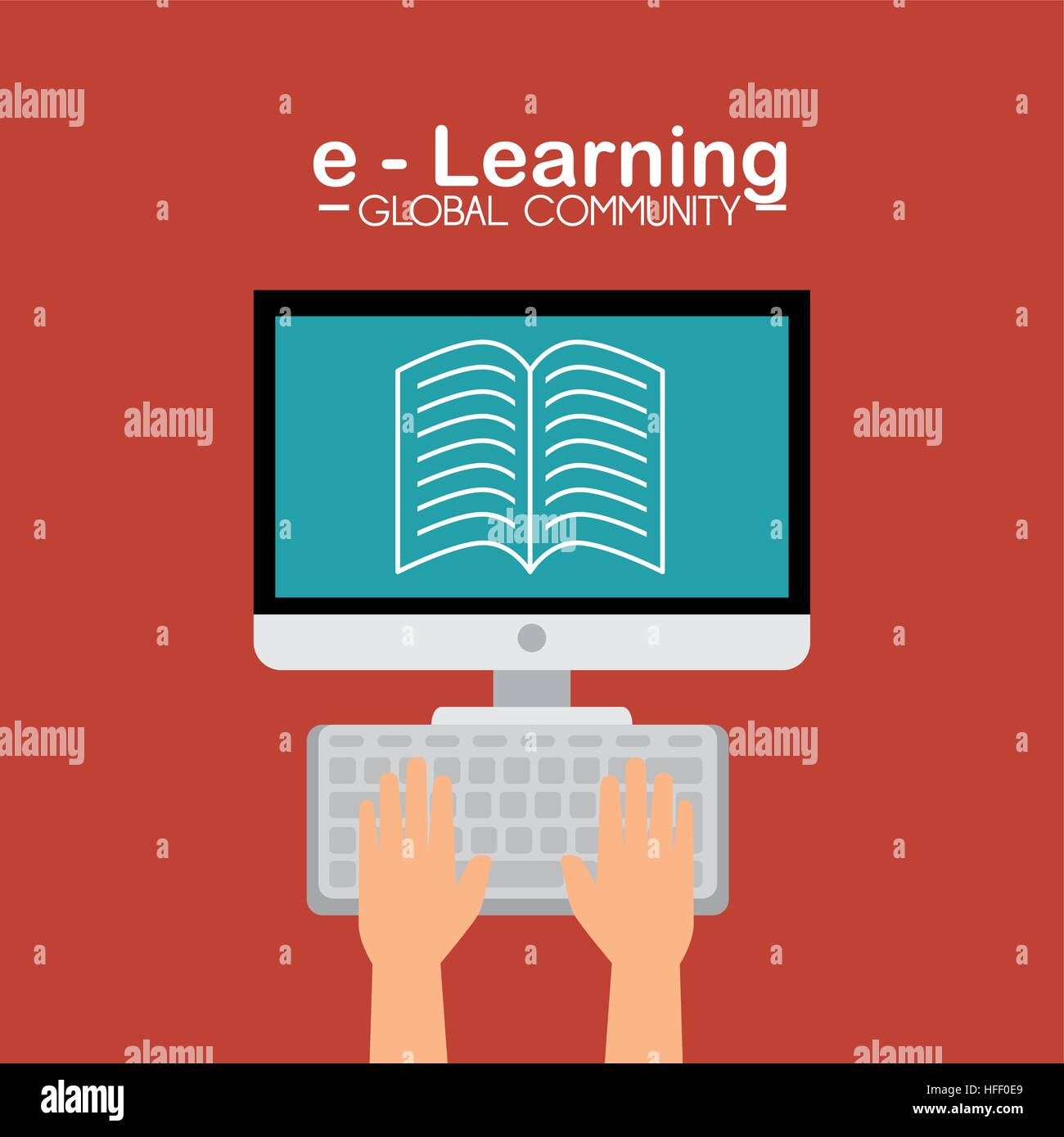 E learning poster designs - Stock Vector E Learning Global Community Concept Vector Illustration Design