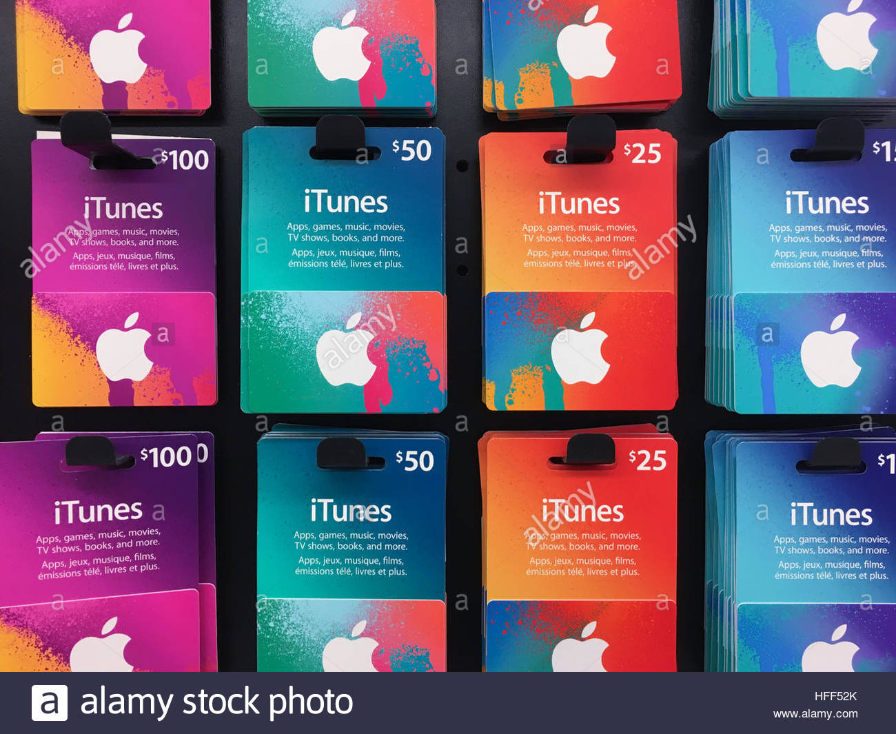 iTunes music gift cards of different values displayed for sale Stock Photo, Royalty Free Image ...
