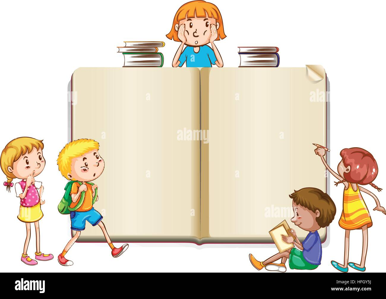 Border template with kids reading books illustration Stock Vector ...