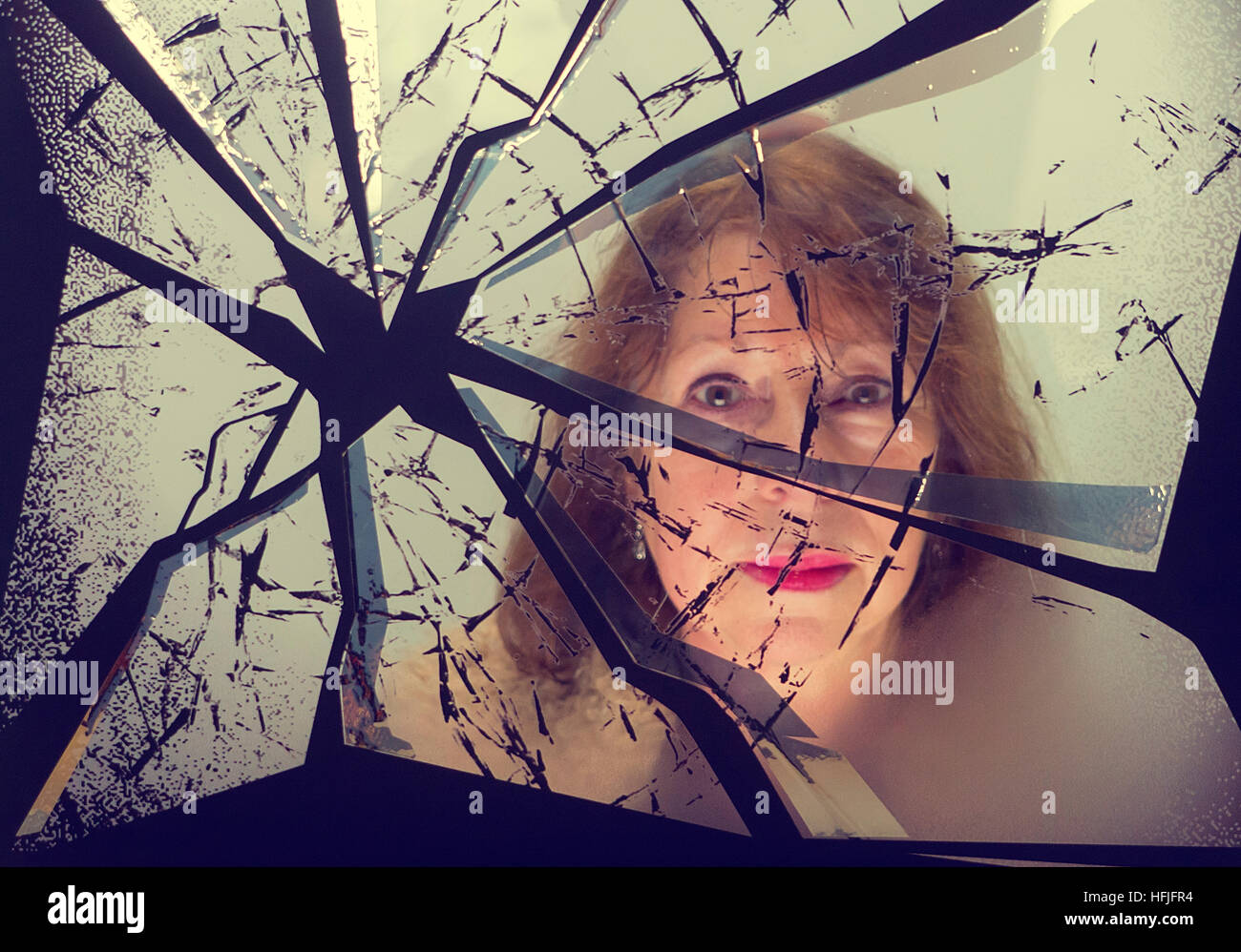 broken mirror reflection photography. reflection of a woman in broken mirror stock image photography