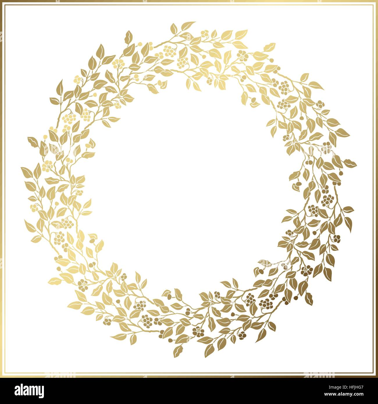 Beautiful Vintage Circle Frame Wedding Decor Openwork Template Golden Leaves And Berries On White Background
