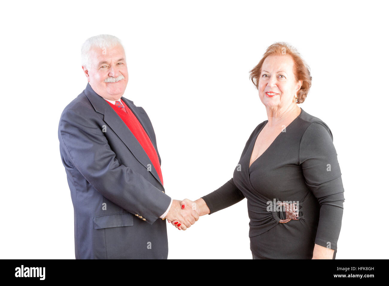 Business people handshake greeting deal at work photo free download - Elderly Business Man And Woman Shake Hands And Smile At The Camera Against A White Background