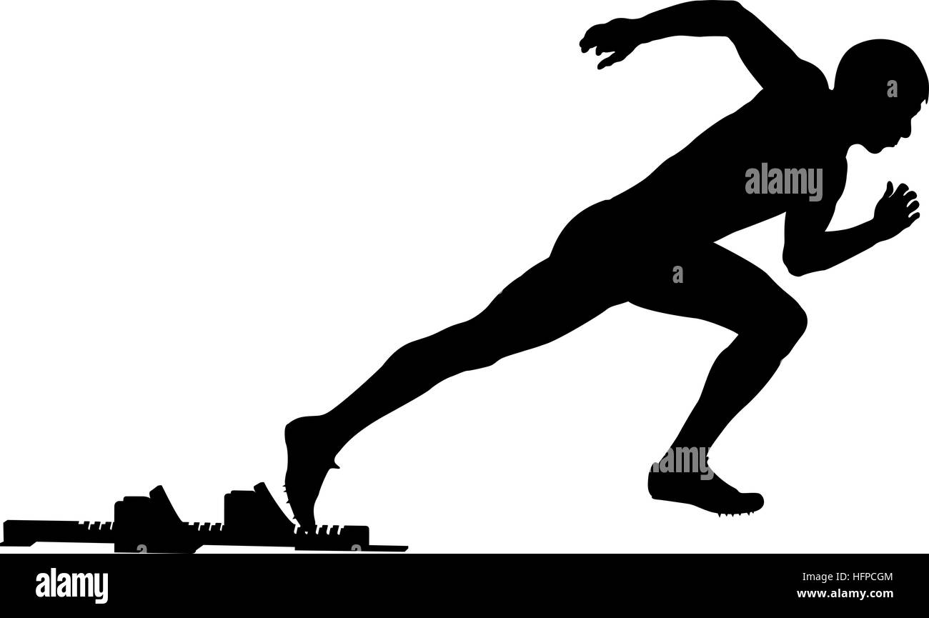 Black Silhouette Of A Male Athlete Start From Starting