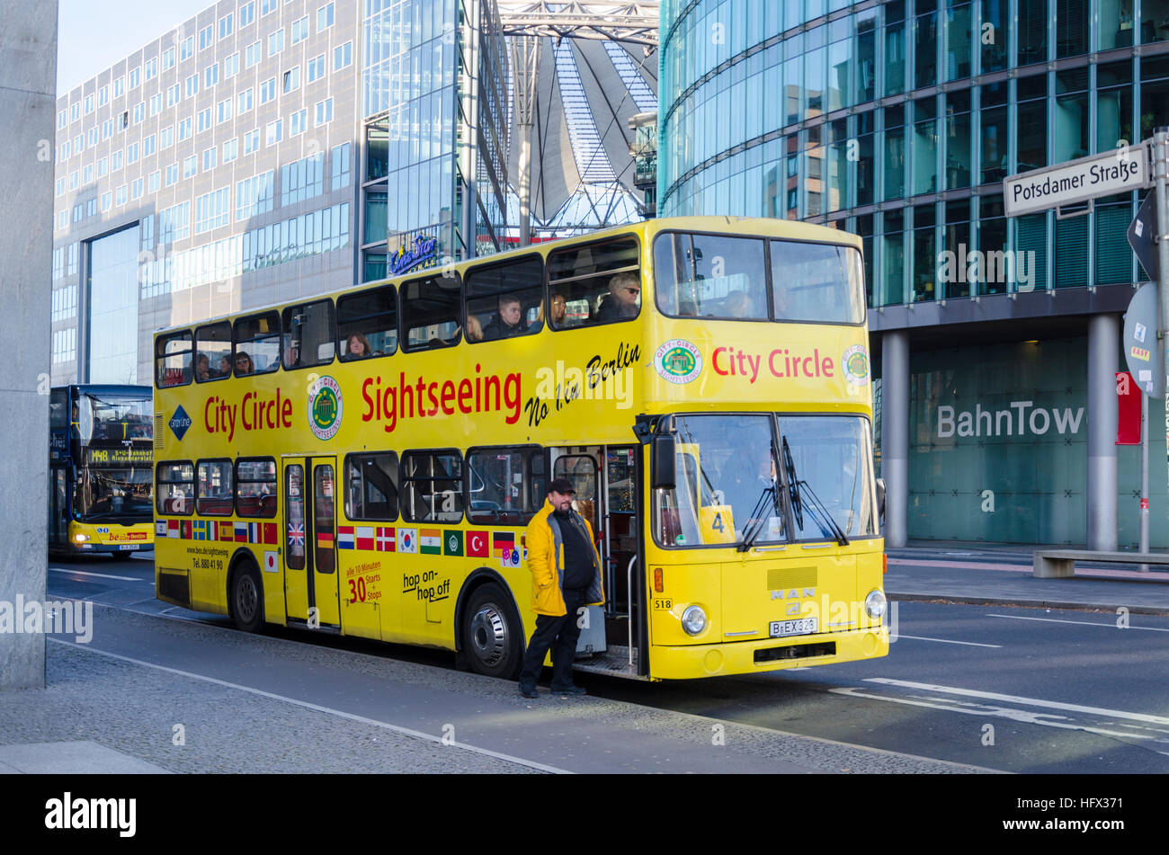 berlin sightseeing bus tour parked in potsdamer platz berlin stock photo 130265717 alamy. Black Bedroom Furniture Sets. Home Design Ideas