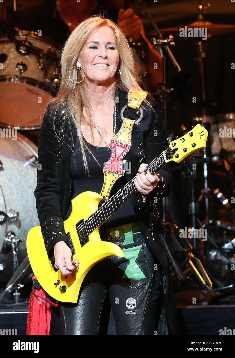 Lita ford performs during bret michaels the new year s party starts now tour at the florida theatre in jacksonville florida on december 30 2016