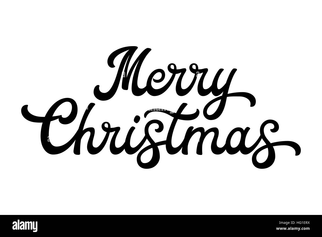 Merry Christmas Brush Lettering Black Letters Isolated On White Background Decoration For Greeting