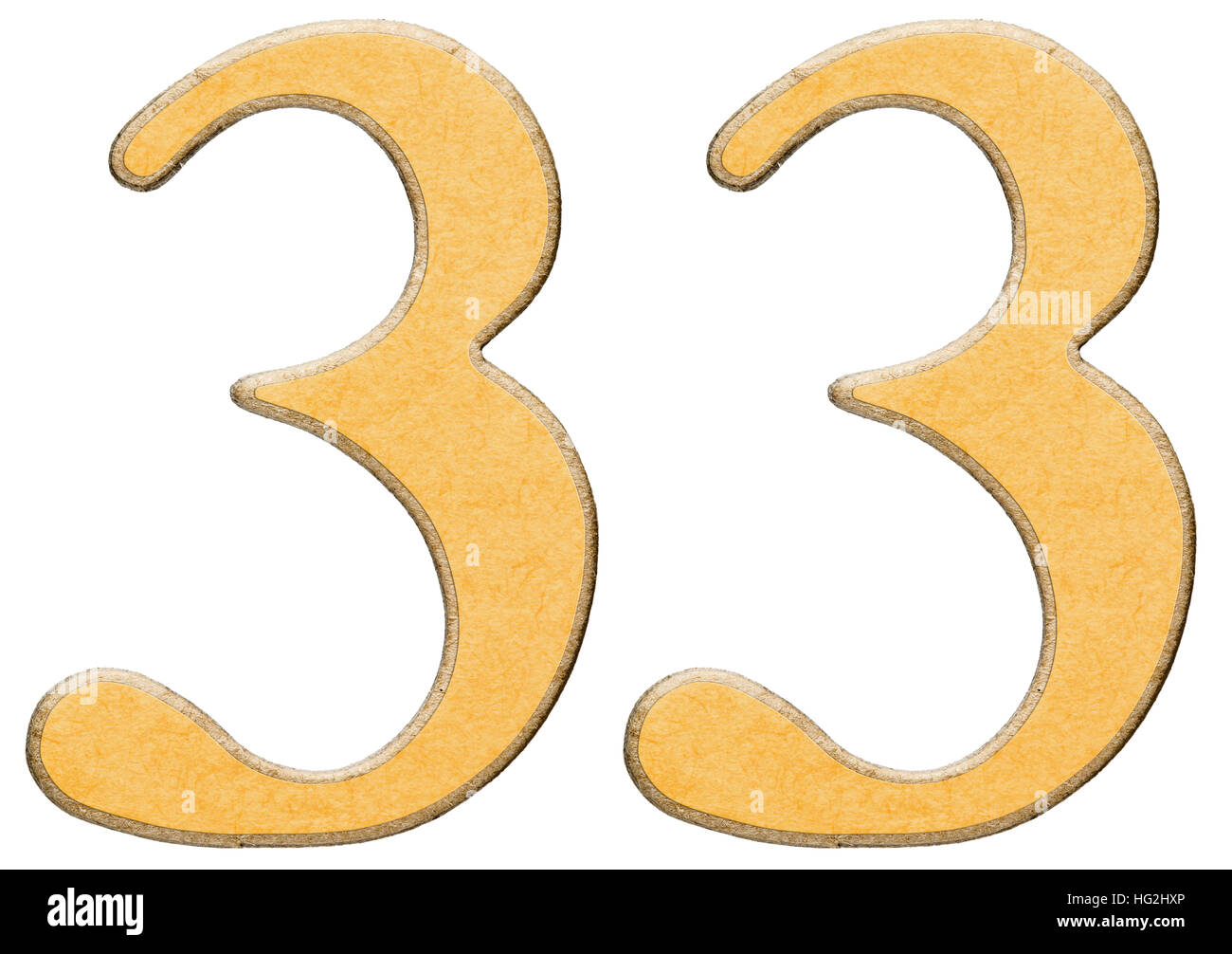 Number 33 free picture of the number thirty three - 33 Thirty Three Numeral Of Wood Combined With Yellow Insert Isolated On White Background