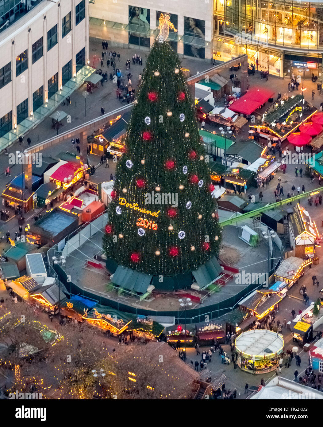 Aerial view, the biggest Christmas tree in the world is in ...