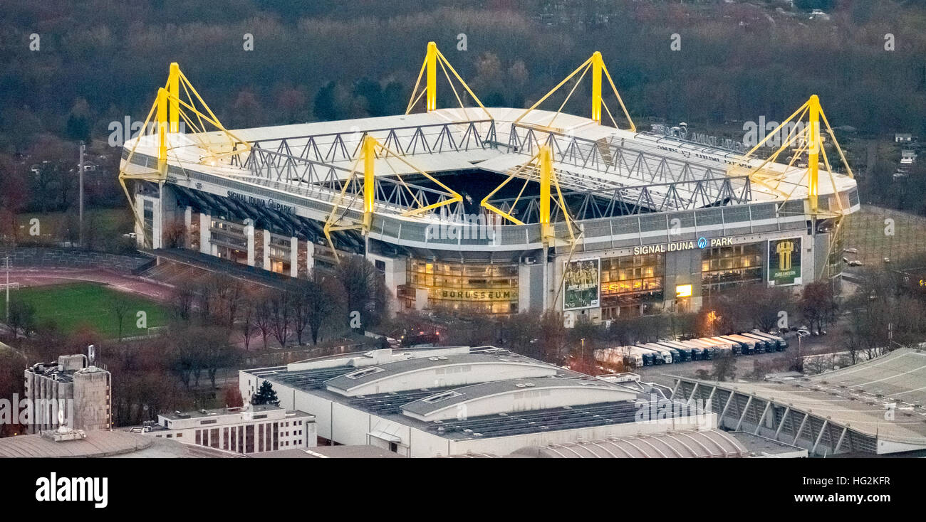 aerial view bvb stadium signal iduna park at night dortmund stock photo royalty free image. Black Bedroom Furniture Sets. Home Design Ideas