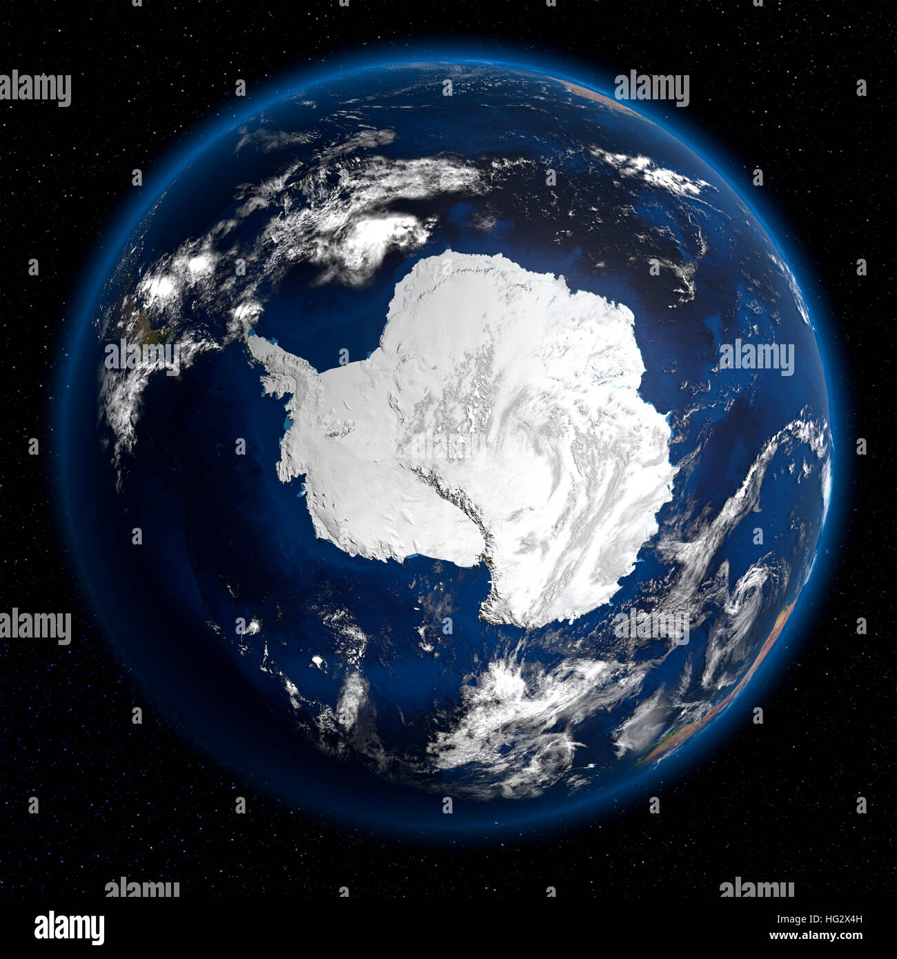 Earth Viewed From Space Showing Antarctica Realistic Digital - World map from outer space