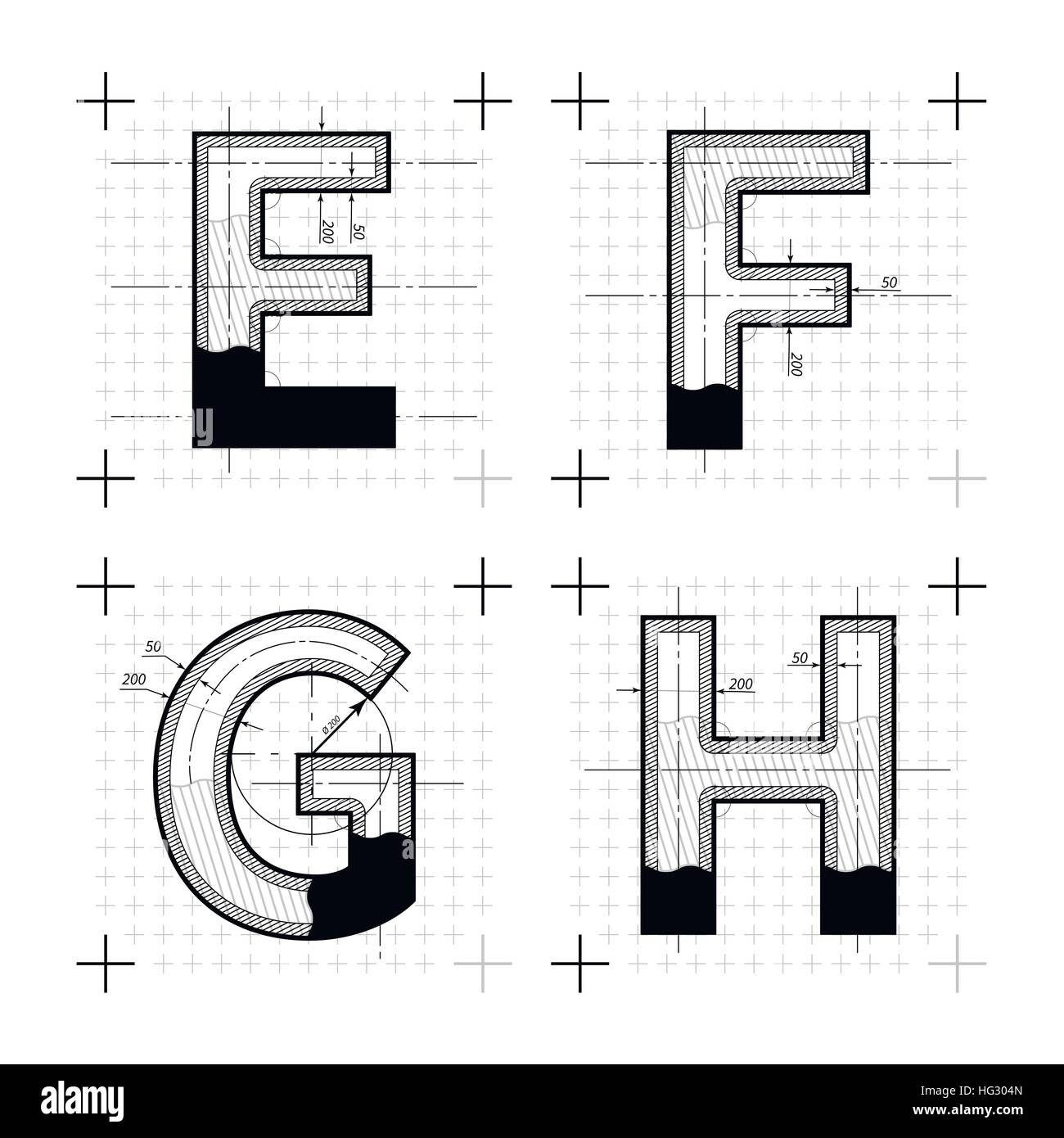 Architectural sketches of e f g h letters blueprint style font on architectural sketches of e f g h letters blueprint style font on white malvernweather Gallery
