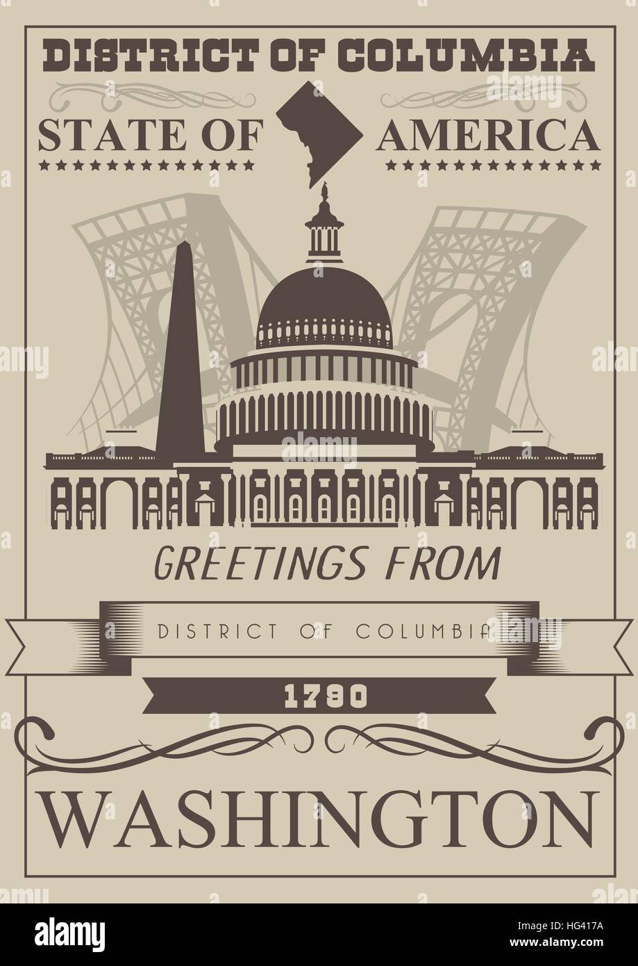 District of columbia vector washington poster usa travel stock district of columbia vector washington poster usa travel illustration united states of america colorful greeting card kristyandbryce Images