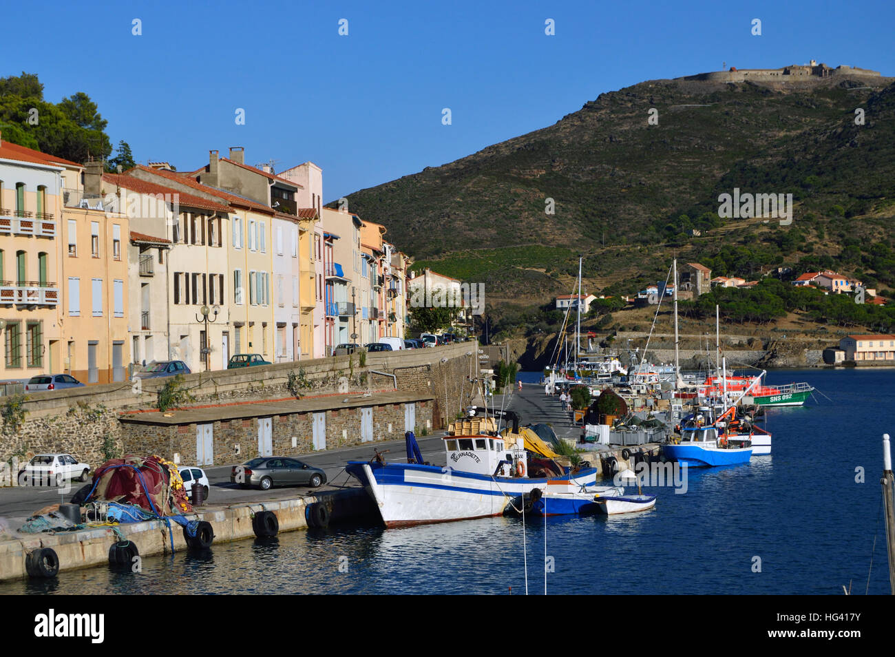 Boats In The Harbour At PortVendres France Stock Photo - Location port vendres