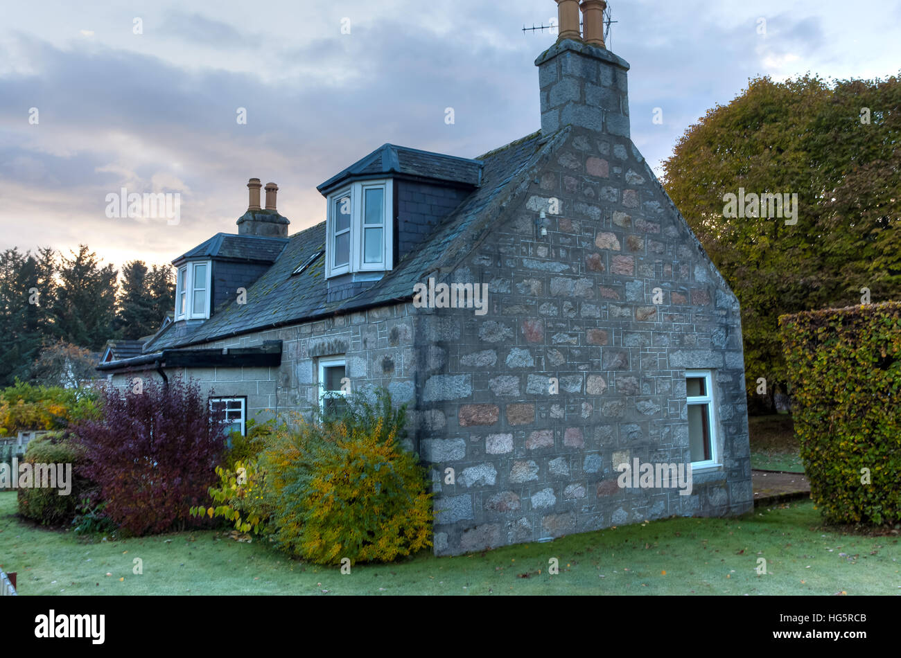 A Typical Stone Scottish Cottage In The Highlands Of Scotland