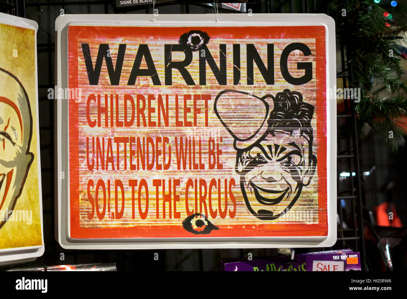 A vey funny sign for sale at the Halloween Adventure costume shop ...