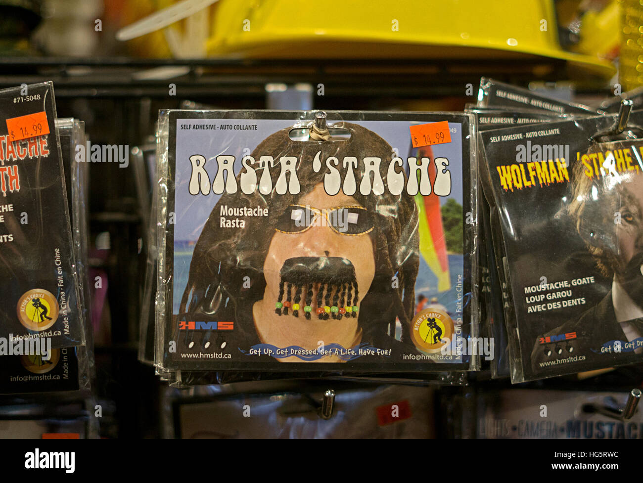 A fake rasta mustache for sale at the Halloween Adventure costume ...