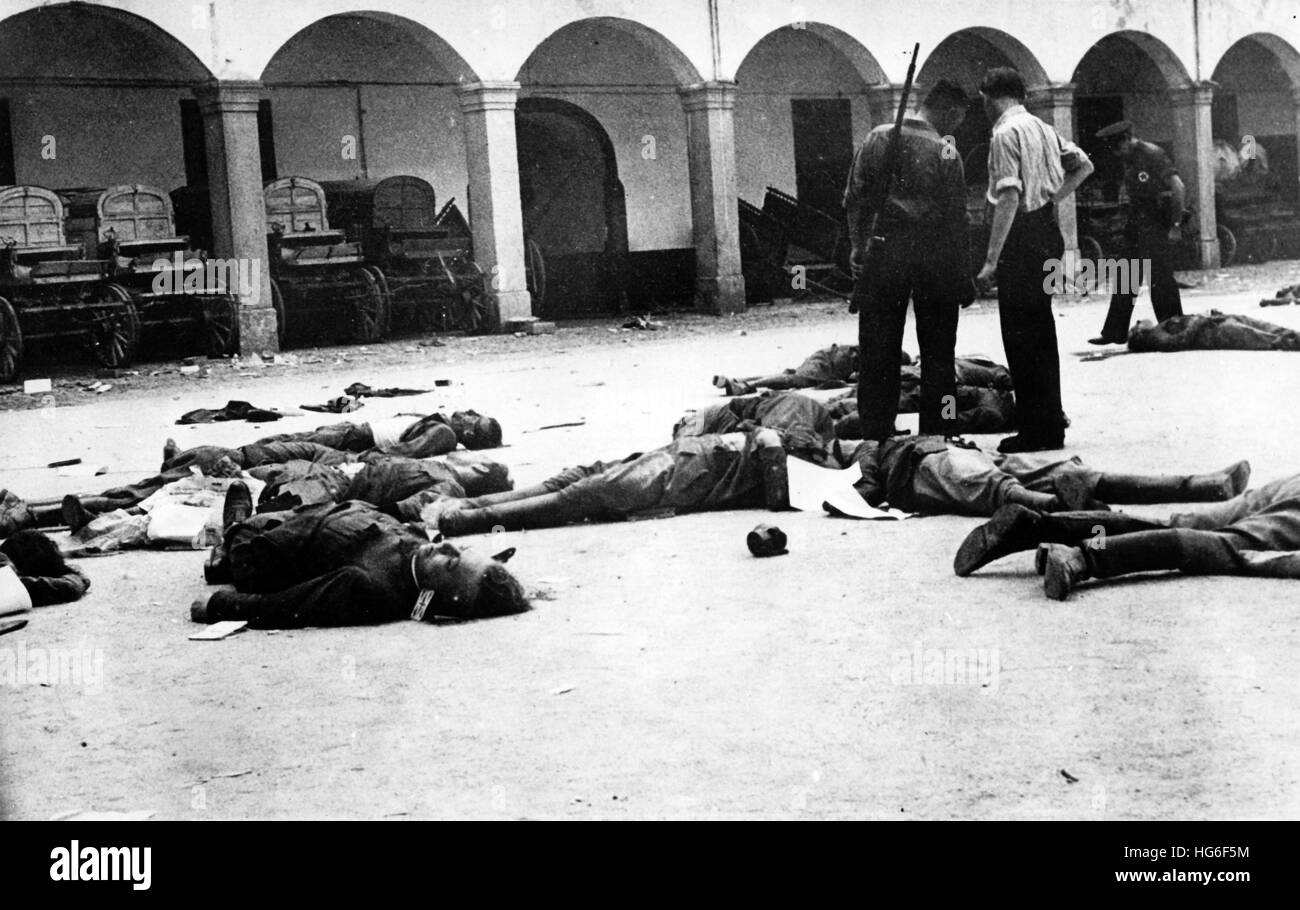 Stock Photo   The Nazi Propaganda Picture Shows Dead Bodies Lying On The  Floor In The Yard Of The Cuartel De La Montaña After The Assault By  Republican ...