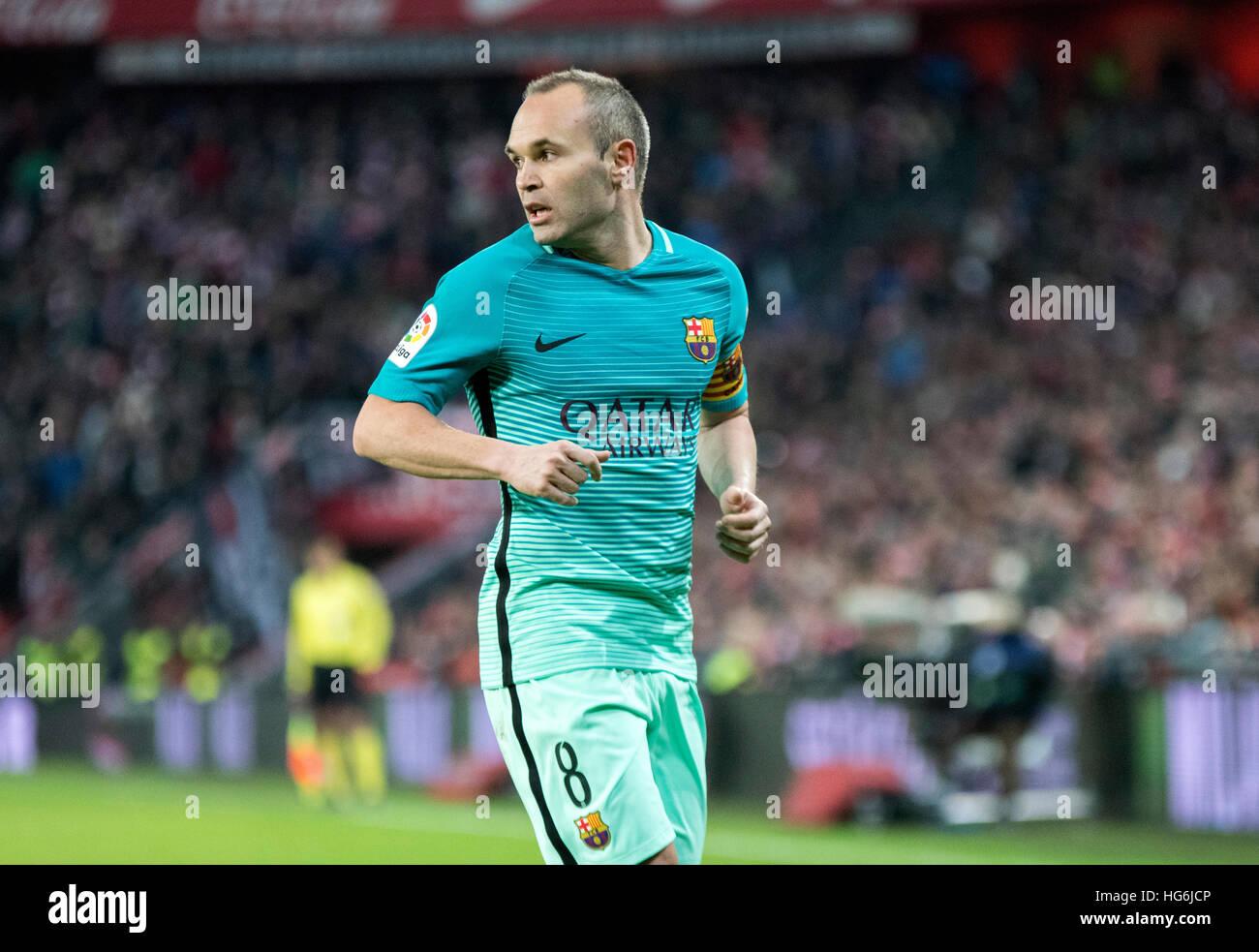 Bilbao Spain 5th January 2017 Andres Iniesta Mildfierder FC