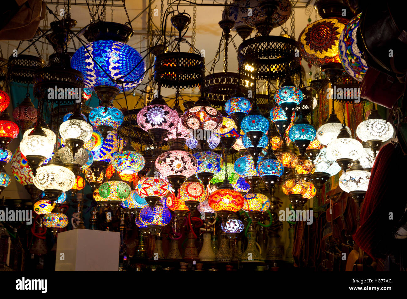 Arabian colorful lamps lights traditional tourist souvenirs stall ... for Traditional Arabic Lamp  569ane