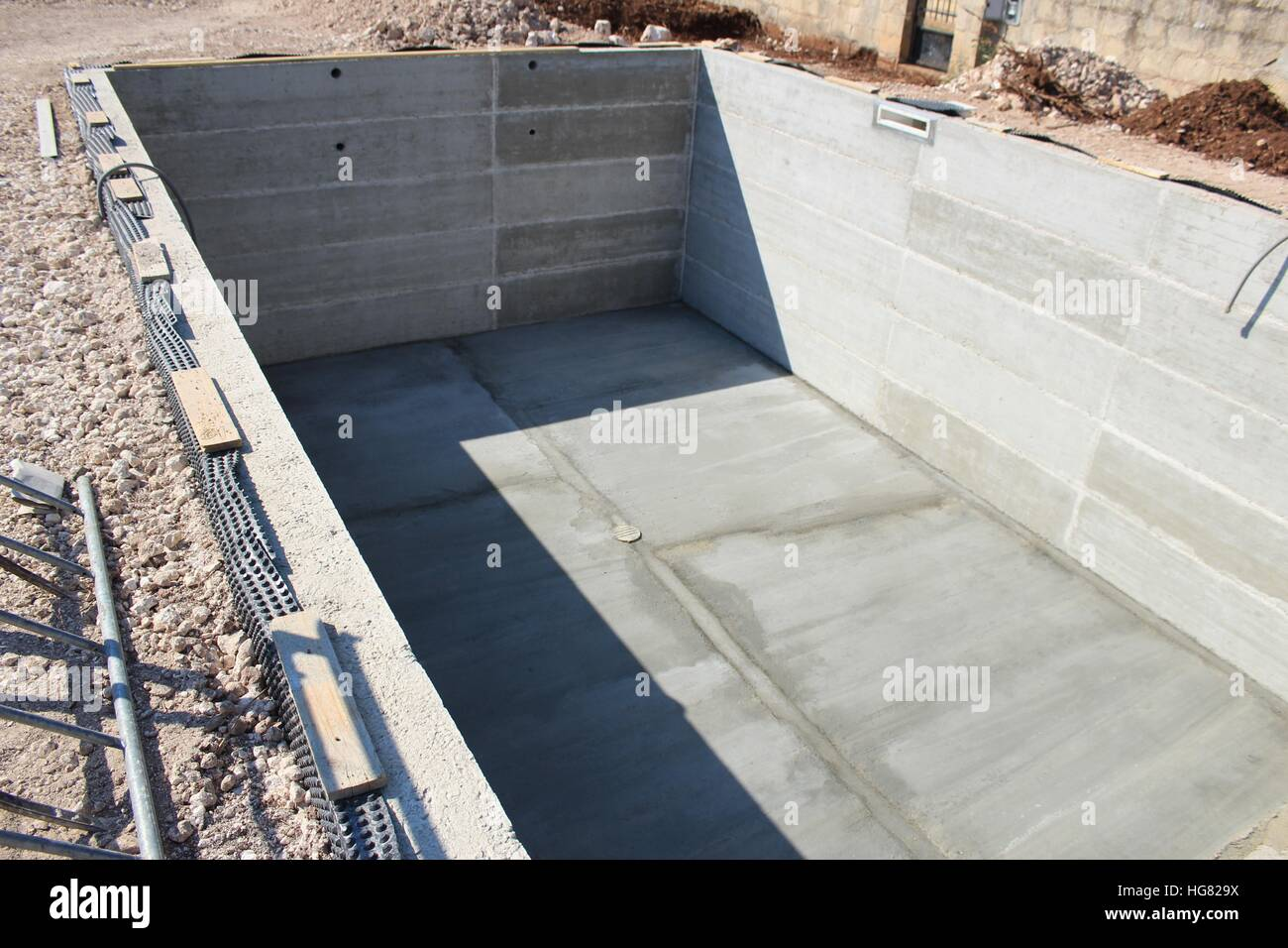 A Poured Armored Cement Swimming Pool Structure Before Waterproofing Stock Photo Royalty Free