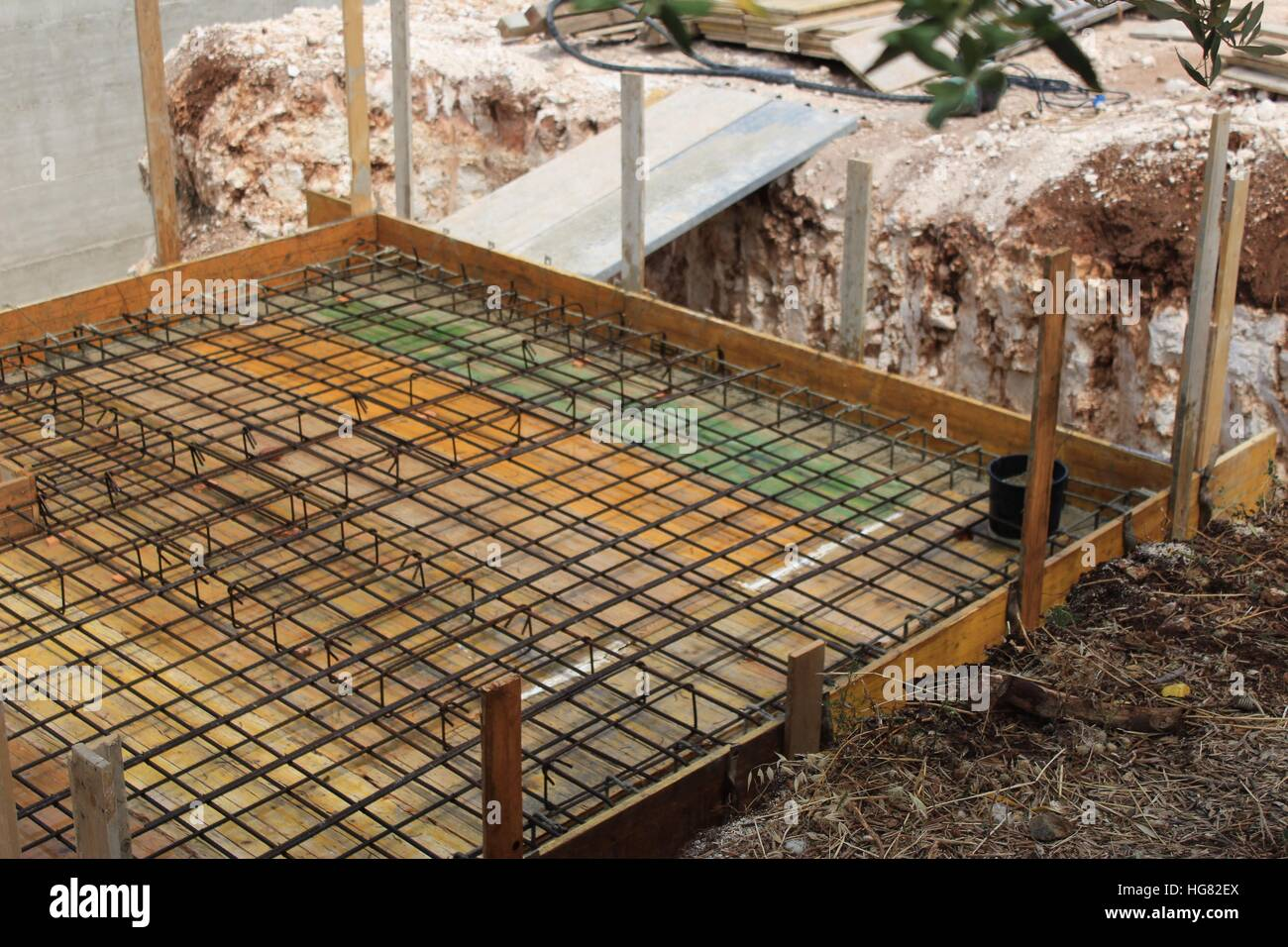 Swimming Pool Reinforcement : In ground swimming pool plant room under construction