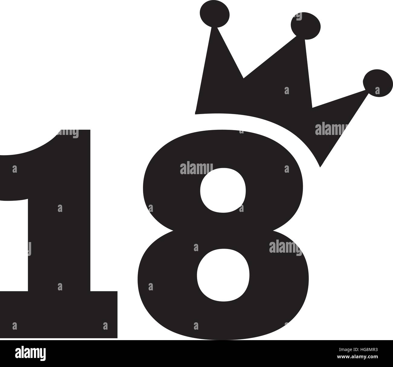 18th Birthday Number Crown Stock Vector Art & Illustration
