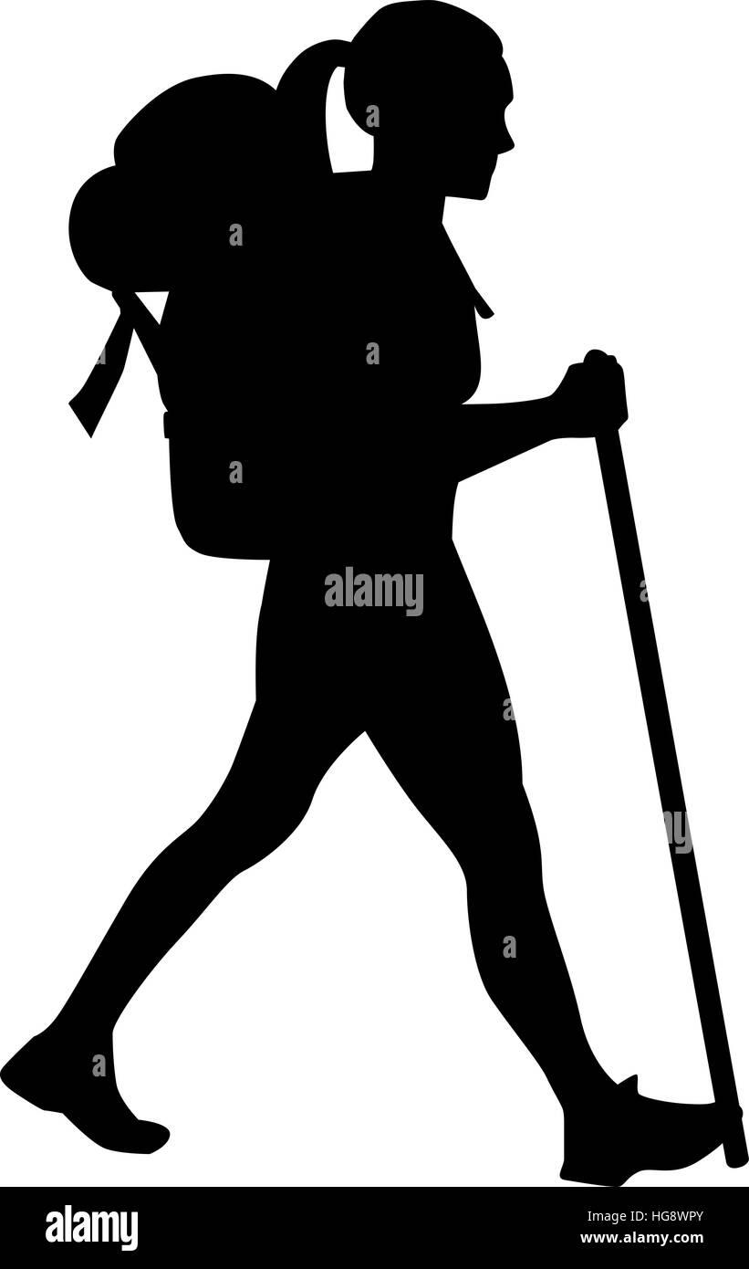 female hiker stock vector art amp illustration vector image