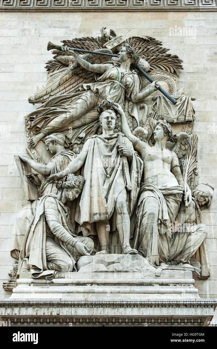arc de triomphe detail of high relief triumph of napoleon paris stock photo royalty free. Black Bedroom Furniture Sets. Home Design Ideas