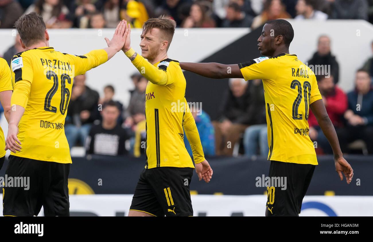 Dortmund s Lukasz Piszczek l and Dortmund s Adrian Ramos r