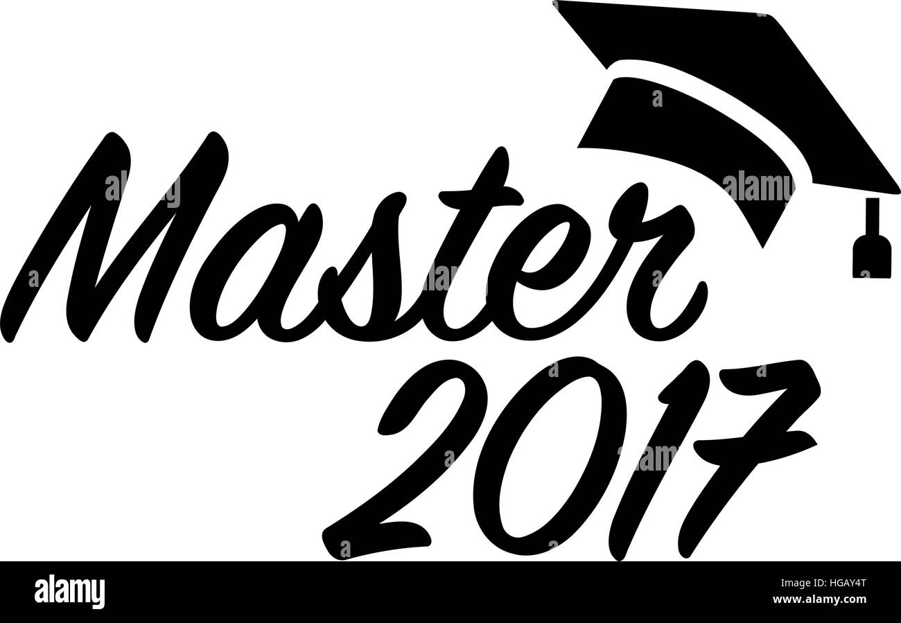 Master 2017 with graduation hat Stock Vector Art ...