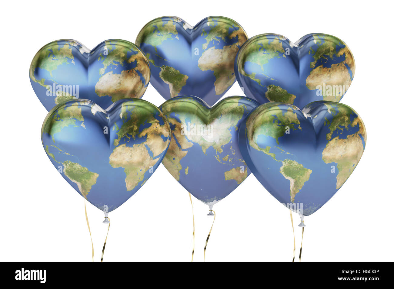 Balloons in the shape of hearts with map of earth 3d rendering balloons in the shape of hearts with map of earth 3d rendering isolated on white background gumiabroncs Gallery