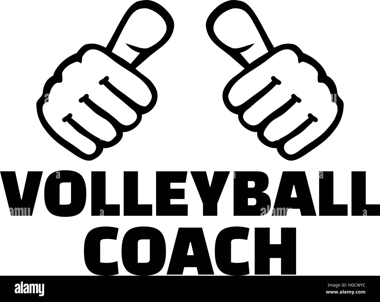 T shirt design volleyball - Stock Vector Volleyball Coach With Thumbs T Shirt Design