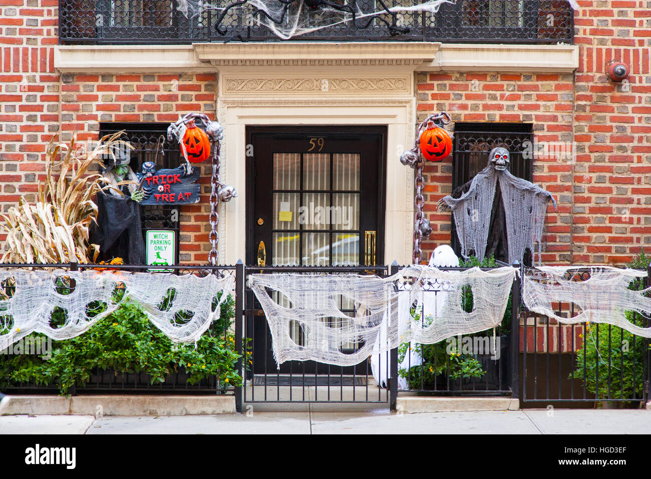 halloween decorations on a house on e77 street manhattan new york city united states of america - Halloween Decorations House