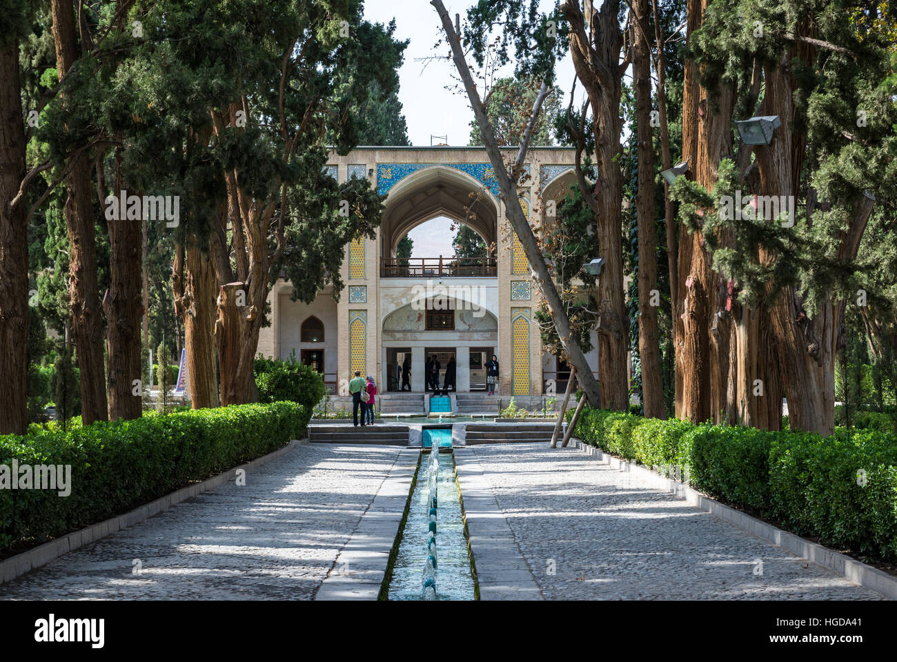 Water Channel And Main Pavilion In Oldest Extant Persian Garden In Iran  Called Fin Garden (Bagh E Fin), Located In Kashan City