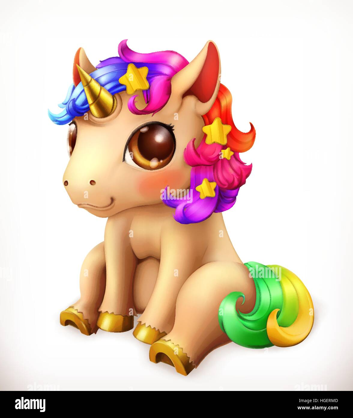 little unicorn cartoon character funny animals 3d vector icon