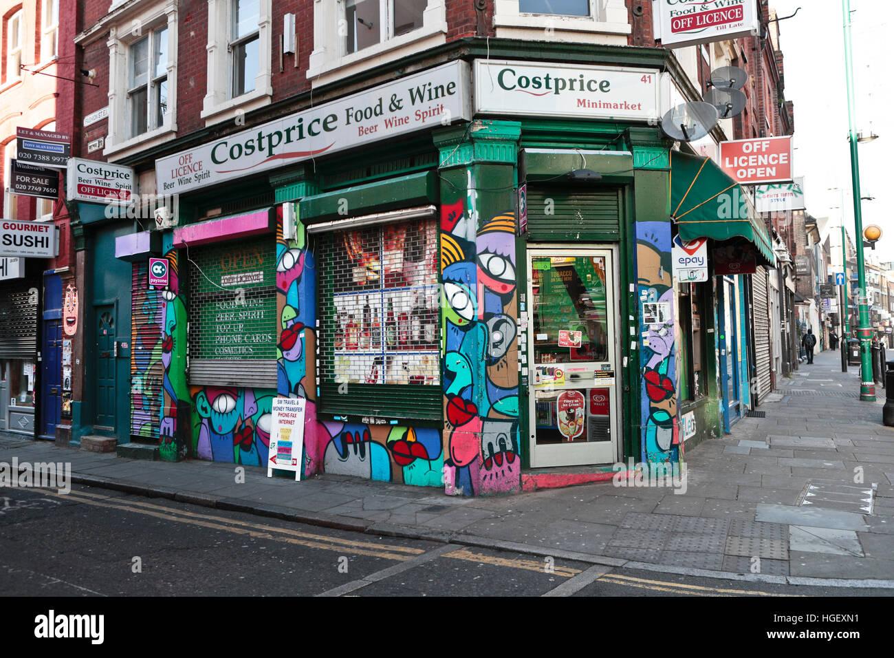 costprice food wine store in brick lane east london uk stock photo royalty free image. Black Bedroom Furniture Sets. Home Design Ideas