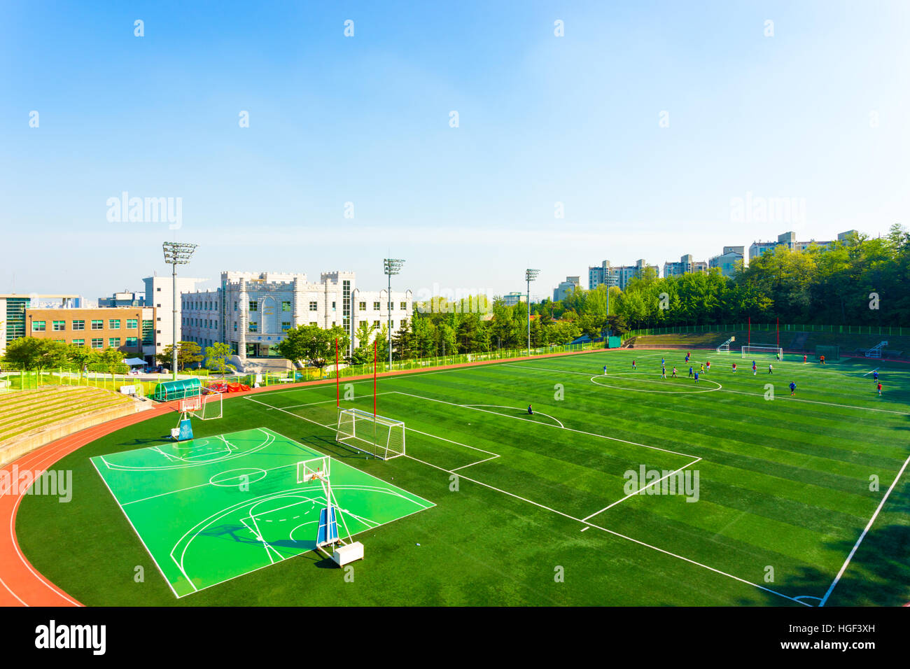 artificial turf soccer field. High Angle View Of Artificial Turf On The Athletic Soccer Field At Track Stadium Campus Korea University In Seoul
