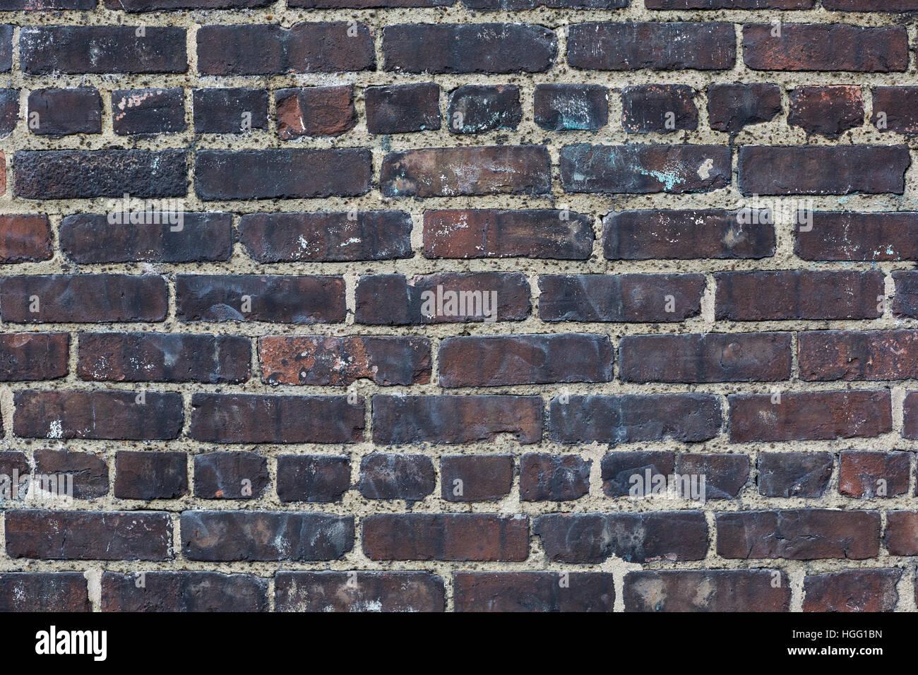 Dark Bricks Blacken Weathered Wall Texture Background