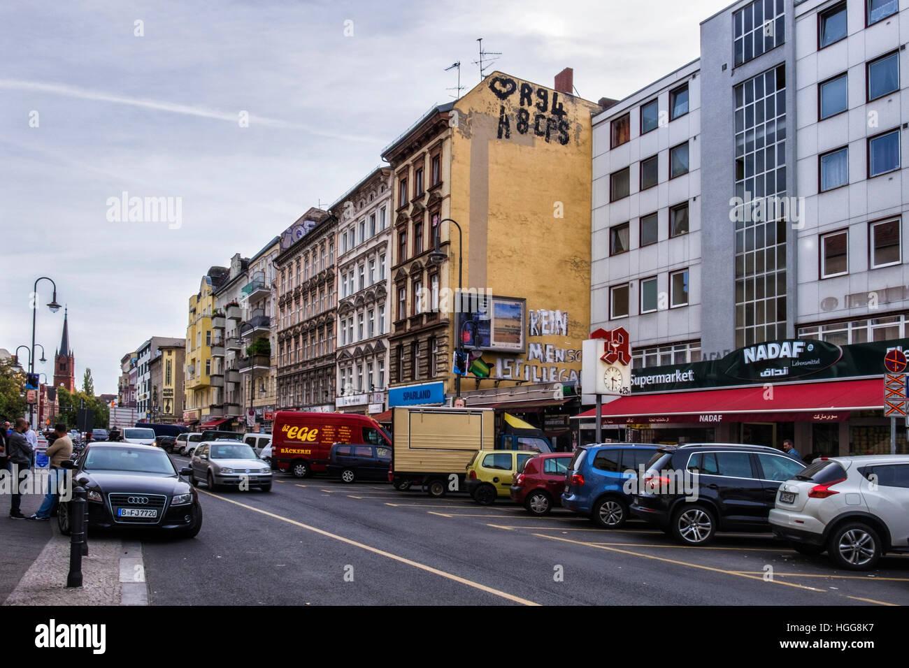 berlin neuk lln karl marx strasse berlin urban street with stock photo royalty free image. Black Bedroom Furniture Sets. Home Design Ideas