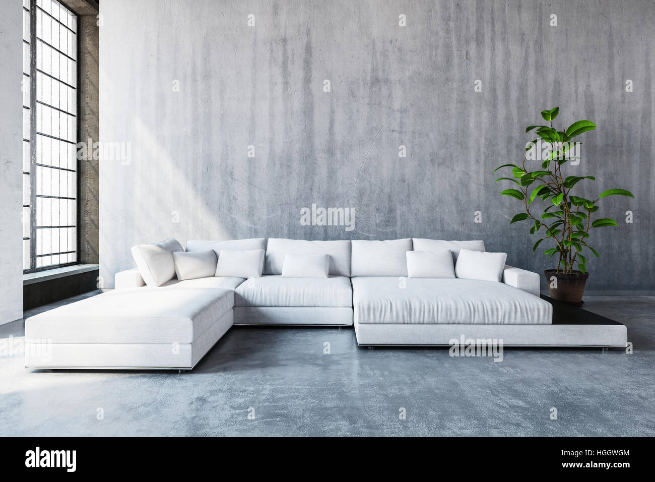 Stock Photo   Stylish Modern White Modular Sofa Day Bed With Cushions In A  Spacious Living Room With Tall Windows And Monochrome Grey Decor, 3d Render