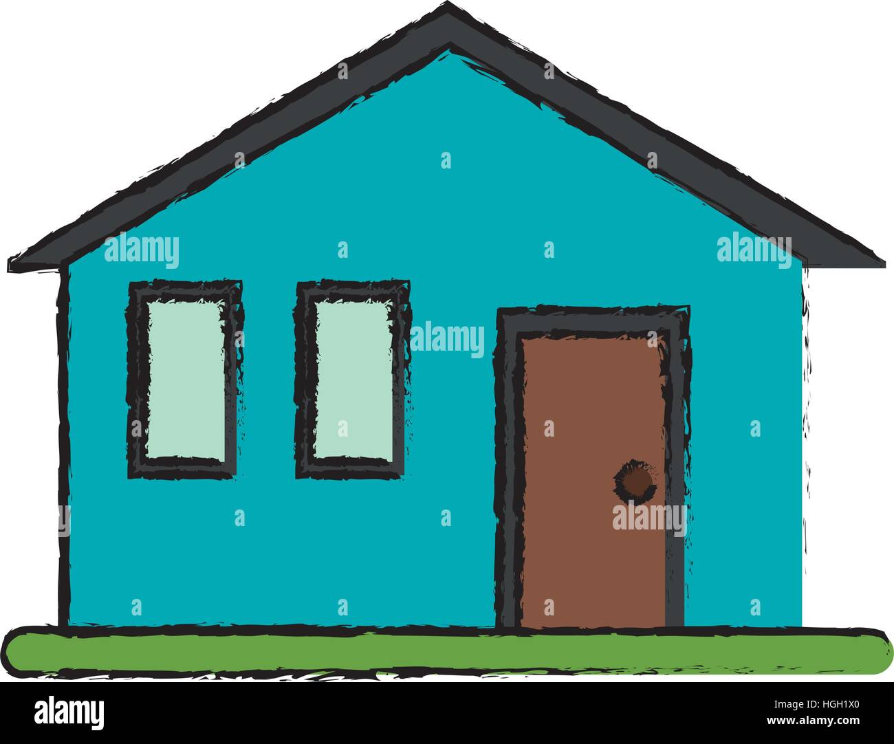 drawing house family simple front view Stock Vector Art ...
