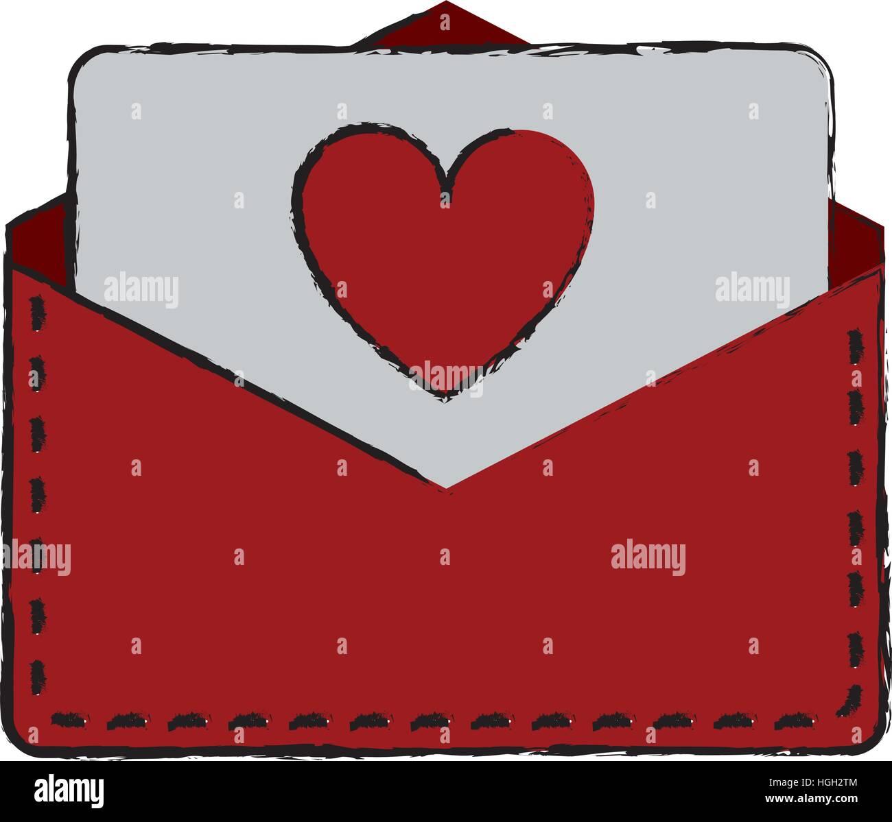 drawing love heart envelope mail valentine letter Stock Vector Art