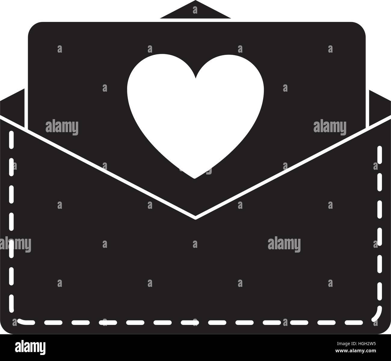 silhouette love heart envelope mail valentine letter Stock Vector