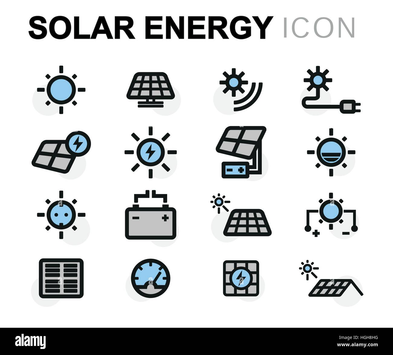 vector flat solar energy icons set stock vector art illustration vector image 130687020 alamy. Black Bedroom Furniture Sets. Home Design Ideas
